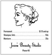"""""""Jean's Beauty Studio"""", ca. 1940"""
