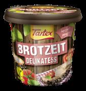Die Sorte Tartex BROTZEIT Delikatess ist ein Klassiker unter den pflanzlichen Brotaufstrichen und schmeckt unwiderstehlich würzig-lecker.