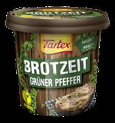 Appetit auf eine deftig-schmackhafte Stulle? Dann ist die pflanzliche Streichwurst Tartex BROTZEIT Grüner Pfeffer die ideale Wahl für die nächste Brotzeit.