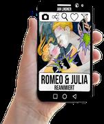 """Cover zu Jan Lindners Buch """"Romeo & Julia: Reanimiert"""" mit Hand und transparent"""