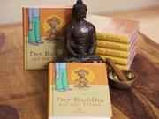 Illustration von Frank Schulz Art für Dirk Grosser im Kailash Verlag zu Der Buddha auf vier Pfoten (Mann in Socken und Hund in Meditation vor Orangefarbener Tapete)
