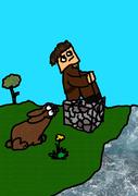 """Fred sitzt auf einem Cobblestne am Fluss. Neben ihm ist das Kaninchen """"sniff sniff"""" ;D"""