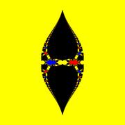 Basins of Attraction z^3-z=0, Halley-Verfahren, a=1.98, B=[-6, 6]x[-6, 6]
