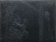 Composition I (avec vache, grue et 2,90€), 55 x 72,5 cm, 2019. Edition résine et fer.