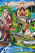 """Matthias Laurenz Gräff, """"Topografische Ansicht Zitternbergs"""", 120x80 cm, 2017. Gemälde für die Ortschronik Zitternberg (Niederösterreich). Fotografiert von Mag. art. Savio Verra (3571 Zitternberg)"""