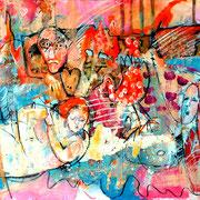 Ein rosen-roter Traum_Acryl auf Karton_100x70 cm