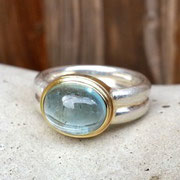 Silberring, Aquamarin in Goldfassung