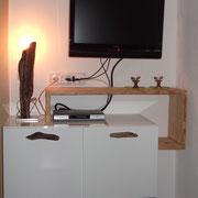 Sideboard Hochglanz weiss mit Altholz