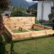 Altholzbett - massiv - gebürstet - geölt - ohne Metall
