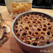 gratin de Mezzi Rigatoni aux cèpes et au parmesan