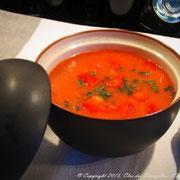 Gaspacho de tomates, basilic et pastèque