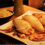 Calamar farci, mitonnade de poivrons