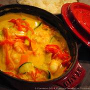 Cocotte de crevettes au colombo, lasagne de légumes