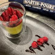 Mousse citron vert, basilic, compotée de fruits rouges à la crème de vinaigre au jus de cranberry
