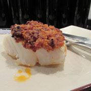 Dos de cabillaud cuit à basse température, crumble aux épices des Indes Martin-Pouret