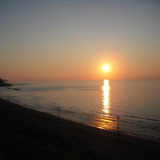 日本海に沈む夕日。
