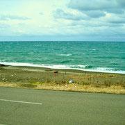 長い柿崎の海岸線です。