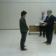 表彰を受ける奥村、太田両選手オメデトウございます。
