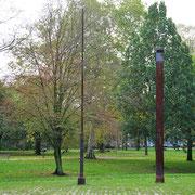 Bilck in südöstliche Richtung Skulpturen vor Bäumen, Aufnahme-Datum: 05.10.2019