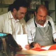 Roberto Dossi e Luciano Ragozzino in stamperia
