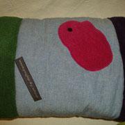 Pig Colour - Stoff: Jeans hellblau + Fleece 3-farbig brombeer/pink/grün (Zuhause gefunden)