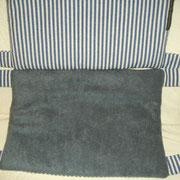 Pig Ringelmatte blau/weiß, Fleece grau (Zuhause gefunden)