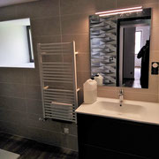 Meuble salle de bain miroir sèche serviette