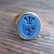 Siegelring für Herren aus Gold mit blauen Lagenstein
