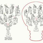 Illustrationen für eine Werbebroschüre über das Dirigieren mit Amateurmusikern. Kunde: Dt. Dirigentenakademie