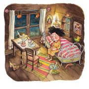 "Illustration zu  dem Kinderbuch ""Hexe Knattertü"". Kunde: Agentur, Heike Gutmann"