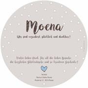 Moena 2in1 / Rondo . 148mmx148mm / 2-seitig (Geburts- und Dankeskarte vereint)