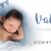 Valerie 2in1 / Longo . 215mmx80mm / 2-seitig (Geburts- und Dankeskarte vereint)