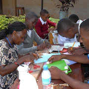 Teachers and students at work.