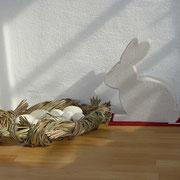Hase gestaltet + echte Gänse-Eier im Nest