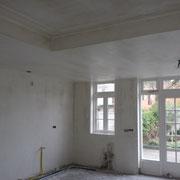 voorbereiding muren en plafond spuiten, woning Oegstgeest.