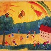 """""""Unser Schulhof""""  -  gemalt von den Schülern meiner Klasse 1 in Fröndenberg"""