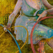 "Hula Hoop No. 6, 2012, charcoal, acrylic and oil on linen, 19"" x 19""  Private Collection"