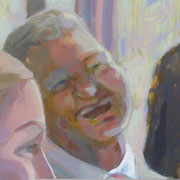 """Detail from Galatoire's, 2008, oil on canvas, 62"""" x 62"""" Private Collection"""