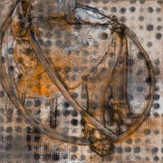"Hula Hoop No. 1, 2012, graphite, charcoal, acrylic and oil on linen, 19"" x 19"""