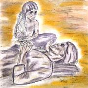 Pastellkreide auf Künstlerpapier, ca. B 30 cm x H 42 cm