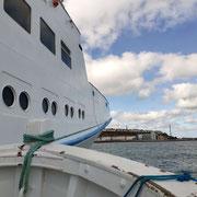 Auf dem Börte Boot werden die letzten Meter zurückgelegt.