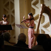 Hosokawa 60th Anniversary Concert. Yoshie Ueno (Fl), Midori Komachi (Vn), Naoko Yoshino (Hp)  Photo: Kaz Ishikawa