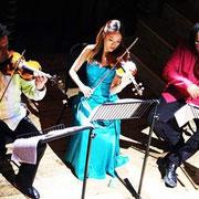 Wilton's Music Hall, Peter Sheppard Skærved, Midori Komachi, Clifton Harrison. Photo: Marius Skærved