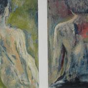 """Parallelwelten""    64cm x 120cm, Diptychon, Acryl auf Papier/Holz, 2012"