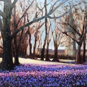 Krokusblüte Husumer Schlossgarten (Inspiration Foto Claudia Nagel) - 40x30cm - Öl auf MDF - VERKAUFT!