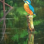 """Kingfisher"" - 30x60cm - Öl auf Keilrahmen/Baumwolle - €290,00"