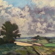 "Interpretation Edward Seago's ""Landscape near Upton"" - 70x50cm - Öl auf Keilrahmen/Baumwolle - €350,00"