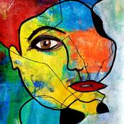 Selbstportrait, blind gemalt, 2020