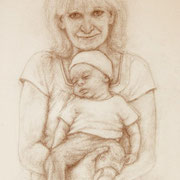 """Oma and Tommy"", Pencil on fine art paper, 12"" X 9"""