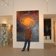 "Standing in front of ""HURRICANE"" at the Milou Gallery in Miami. 2008."